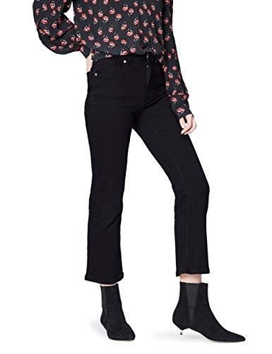 Amazon-Marke: find. Damen Kurz geschnittene Schlag-Jeans, Schwarz (Washed Black), 34W / 32L, Label: 34W / 32L