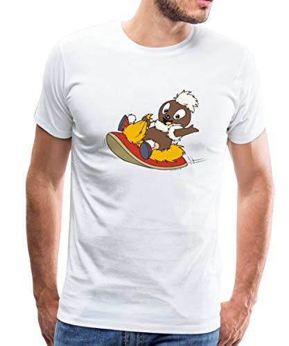 Sandmännchen Pittiplatsch Fliegt Auf Pantoffel Männer Premium T-Shirt, XL, Weiß