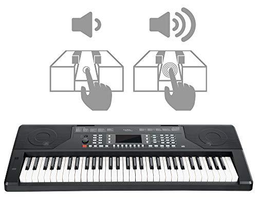 FunKey 61 Edition Touch Keyboard - 61 Tasten - Touch Response - 300 Sounds & 300 Rhythmen - Begleitautomatik und Lernfunktionen - USB-, Mikrofon- und Kopfhöreranschluss - Schwarz