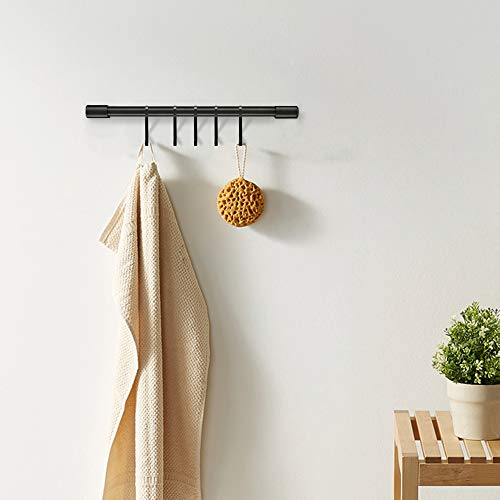 MIAOHUI Kitchen Rail with Hooks, Pan and Pot Hangers for Kitchen Wall Mount, Kitchen Utensil Rack with Removable S Hook, Aluminum (17.3inch_Black_5Hooks)