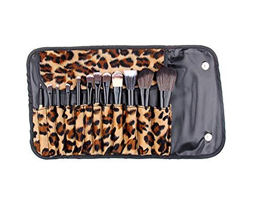 Pinceau De Maquillage Set 12 Pcs Pinceau De Maquillage Journal Maquillage Leopard Sac Brosse Leopard Flanelle Set Pinceau De Maquillage Professionnel Avec Manche En Bois Haut De Gamme Synthétique,Noir