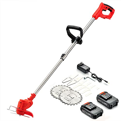 Cordless String Trimmer,Weed Wacker 21V Weed Eater Battery Powered,Edger Suitable for Lawn Trimming/Pruning/Gardening.Grass Trimmer with Telescopic Rod &Adjustable Head,2 Batteries Included