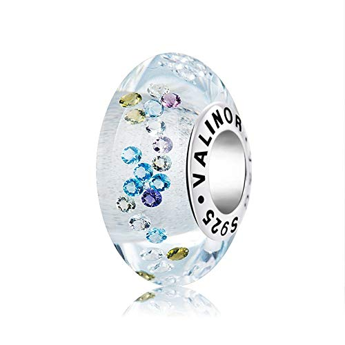 EVESCITY Limited Edition Colorful Encased Zircon Crystal Surround Real Murano Glass 925 Sterling Silver Bead For Charms Bracelets Best Jewelry Gifts for Her