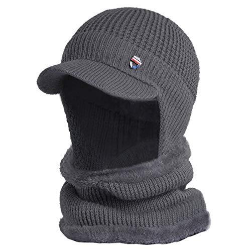 YOKING - Protector auditivo de invierno 2 en 1, gorro de punto frío y cálido, gorro de lana, bufanda
