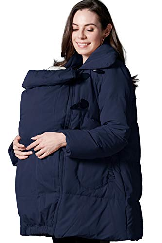 Sweet Mommy Maternity and Babywearing Down Duffle Coat with Babywearing Pouch Navy