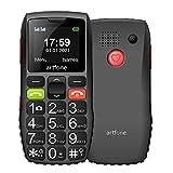 artfone GSM Seniorenhandy ohne Vertrag | Dual SIM Handy mit SOS Notruftaste | Rentner Handy großen Tasten | Großtastenhandy mit Ladegerät & Kamera | Lautes Audio | 1400 mAh Akku Lange Standby Zeit