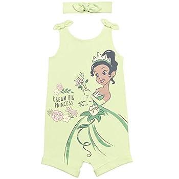 Disney Princess Tiana Baby Girls Romper and Headband Bow Set Green 12 Months
