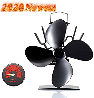 Newest Upgrade Wood Stove Fan, CRSURE Small SF/334 Heat Powered Fan 4-Blade for Wood Burning Stove   Log Burner   Fireplaces, Wood Burner Fireplace Fan for Stoves with Thermometer