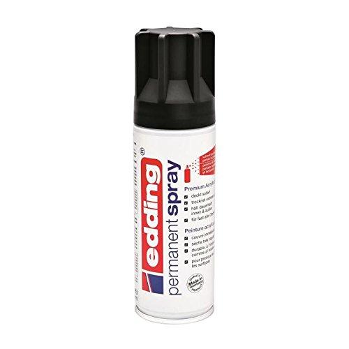 edding 5200 - Spray permanent - Noir mat - 200 ml - peinture à pulvériser acrylique pour peindre et décorer sur presque toutes les surfaces