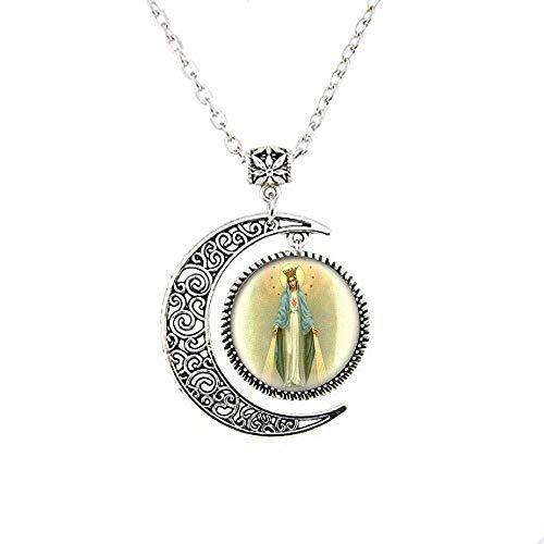 Nuestra Señora de la Milagrosa Medalla Luna Collar Virgen María Joyería Charm Joyería de Cristal Foto Joyería