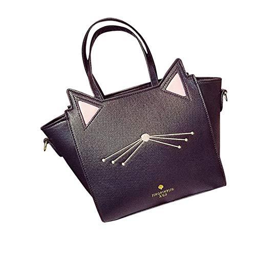 ChallengE Borsa Tracolla Borse Messenger Tote Shoulder Bags Donna Cat Ear Borse a Mano e a Spalla Zaini Borsetta Vintage Schoolbag Trave Zaino Women'S Crossbody Bag Handbags (Nero)