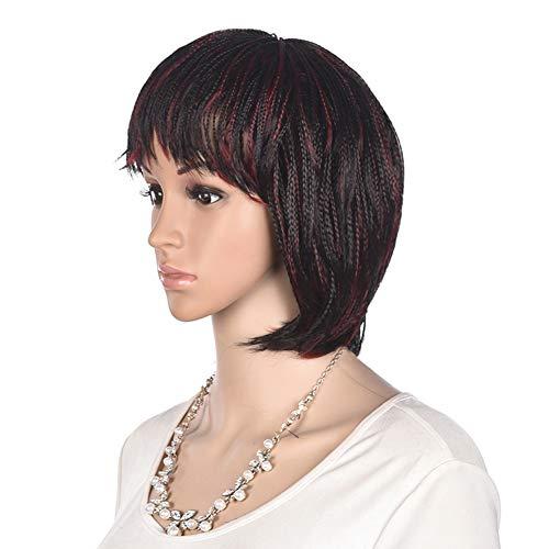 12 inch Short Braids Wigs for Black Women, African American Synthetic Crochet Box Braid Wigs with Bangs (1B/BG)