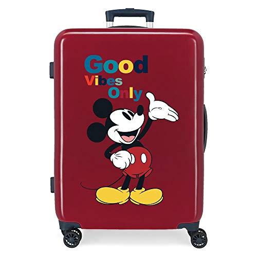 Disney Mickey Original Maleta Mediana Rojo 48x68x26 cms Rígida ABS Cierre de combinación Lateral 70L 2,66 kgs 4 Ruedas Dobles