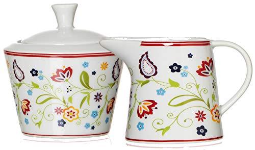 Ritzenhoff & Breker Zuckerdose und Milchkännchen Set Doppio Shanti, 2-teilig, Porzellan , Floral