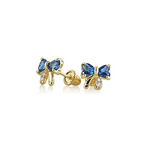 Kleine Zirkonia Royal Blau Simulierten Saphir CZ Schleife Ohrstecker Echte 14K Gelb Gold Screwback