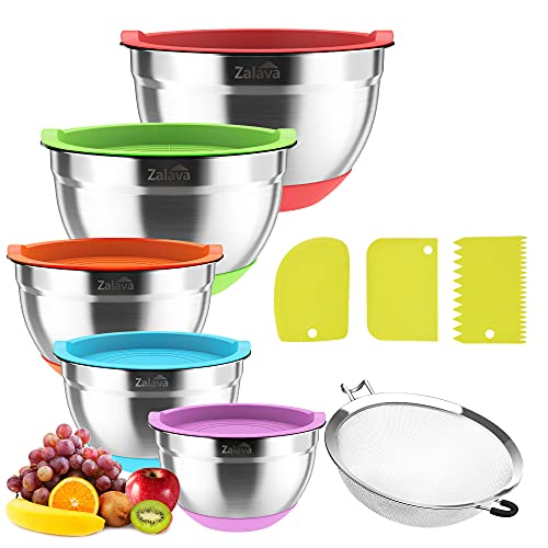 Mixing Bowls with Airtight Lids, with Kitchen Sieve and Pasta Knife, Stainless Steel Mixing Bowls of 5 By Zalava, Silicone Flat Buttom, Measurement Lines,5, 4, 3, 2, 1.5 QT for Mixing,Baking,Serving