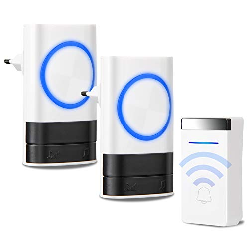Preisvergleich Produktbild Batterielose Funk Türklingel Kabellose Funkklingel Haustür Klingel Set mit LED Anzeige,  IP44 Wasserdicht,  200m Reichweite,  1 Sender 2 Empfänger,  4 Lautstärkestufen,  45 Klingeltönen (Weiß)