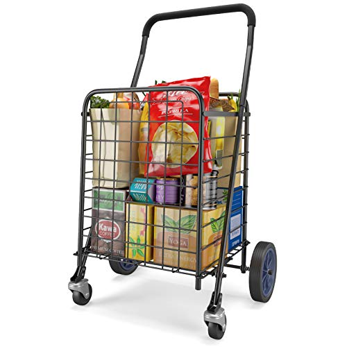 STORAGEGEAR Shopping Cart Deluxe Grocery Carts with Dual Swivel Wheels Portable and Foldable Folding Cart to Save Space Light Weight Trolley for Grocery Laundry Holds up to 70L/Max 66Ibs