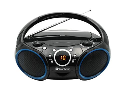 SINGING WOOD 030C Portable CD Player Boombox with AM FM Stereo Radio, Aux Line in, Headphone Jack, Supported AC or Battery Powered (Black with a Touch of Blue Rims)
