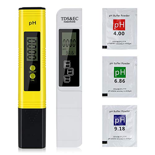 QRANSS pH Messgerät, Digital pH TDS EC und Temperatur Messgerät 4 in 1 Set, Wasserqualität Tester(ATC) Hoher Genauigkeit mit LCD Display, Digital PH TDS Messgerät für Schwimmbad Aquarium Pools