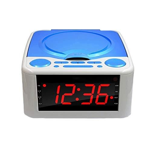Lectores de CD Reproductor de CD de boombox con Bluetooth, radio FM, reproducción de MP3, entrada AUX, conector de auriculares, pantalla LED y cubierta de polvo, reloj de alarma de música de tiempo