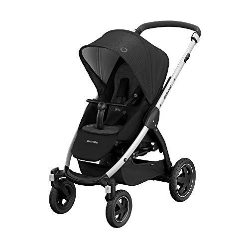 Maxi-Cosi Stella Kinderwagen mit extra großem Verdeck, Outdoor Reifen und Liegeposition, nutzbar ab der Geburt bis ca. 3,5 Jahre, 0-15 kg, essential black