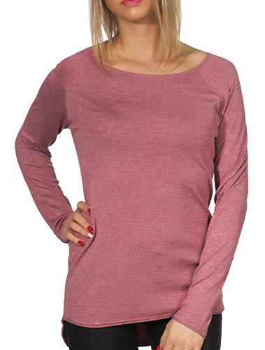 ONLY Damen Onlmila Lacy L/S Long Knt Noos Pullover, Rosa (Mesa Rose Detail: W. Melange), S EU