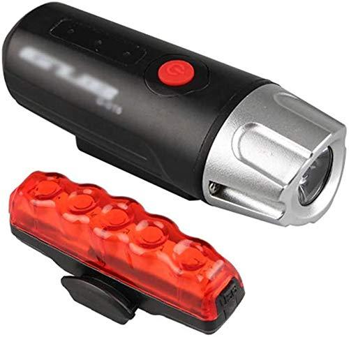 ZHENG Luz Bicicleta Conjunto de luz de Bicicleta Linterna de Mano USB Recargable Impermeable, for Carretera y montaña