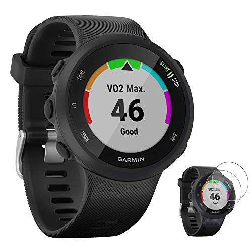 Garmin 010-N2156-05 Forerunner 45 GPS Heart Rate Monitor Running Smartwatch (Black) - (Renewed) with Tempered Glass Screen Protector
