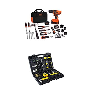 BLACK+DECKER LDX120PK 20-Volt MAX Lithium-Ion Drill and Project Kit and Stanley 94-248 65-Piece Homeowner's Tool Kit