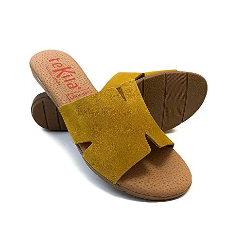 Scarpe da donna con punta aperta in pelle, soletta in gel, zoccoli in pelle piatta per primavera estate Giallo Size: 38 EU