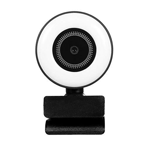 Cámara Web 1080p HD Streaming Webcam Con Luz De Anillo Mini AutoFocus Web CAM Construido En La Cámara De La Computadora Del Micrófono para Conferencias y Videollamadas ( Color : Black , Size : 1080P )