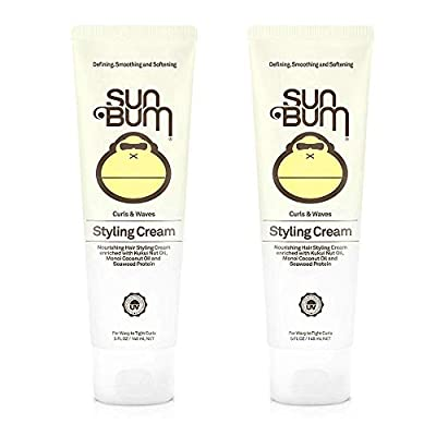 Sun Bum Curls and Waves Styling Cream For Curly Hair - Curl Defining Cream - Frizz Control - Paraben Free - Sulfate Free - 5 ounce - 2 Count