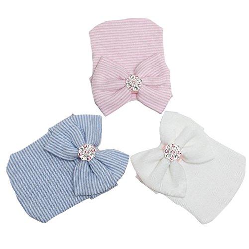 DRESHOW Neugeborenen Krankenhaus Hut Infant Baby Hut Mütze Mit Großen Bogen Weichen Niedlichen Knot Kindergarten Mütze, Blue Pink White (3 Pack), Einheitsgröße