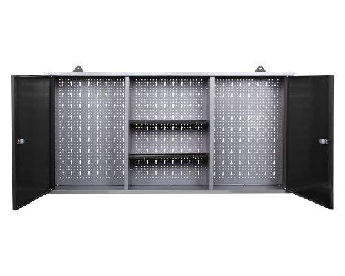 Ondis24 Werkstatteinrichtung grau Werkbank Werzeugschrank Euro – Lochwand mit Hakensortiment 120 x 60 x 202 (H) cm - 7
