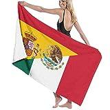 huibe Toalla de baño con Bandera de España y México Unisex Toalla de Playa de Microfibra Suave para Adultos Toalla de Viaje 80x130cm
