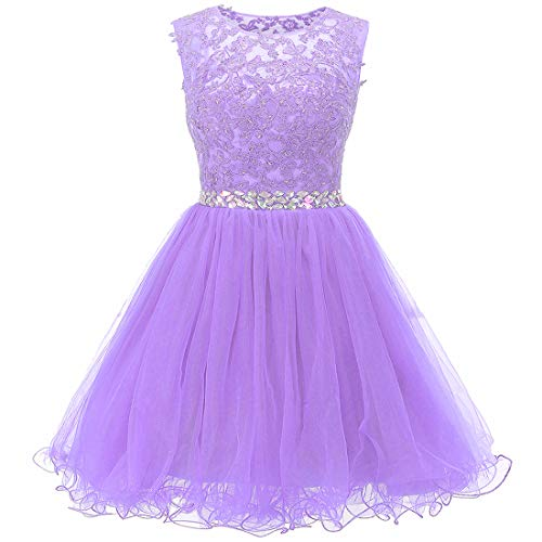 Ailidaw Women's Tulle Homecoming Dress Short Applique Beaded Formal Prom Cocktail Party Gowns Junior Lavender