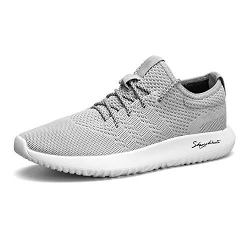 LanFengeu Herren Einfach Sneaker Leichtgewicht Atmungsaktive Mesh Entspannt Rund Toe Gemütlich Abriebfest rutschfest Laufschuhe Outdoor&Sports Freizeitschue Grau 39 EU