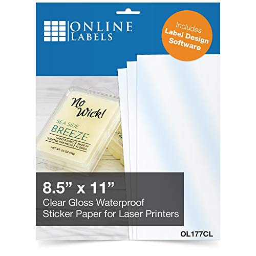 Waterproof Clear Gloss Sticker Paper, 8.5 x 11 Full Sheet Label, 100 Sheets, for Laser Printers...