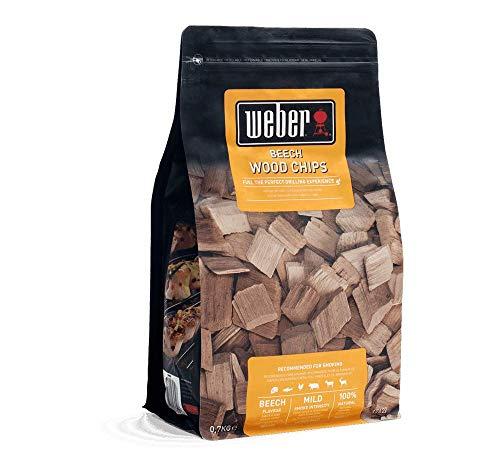 Weber 17622 Räucherchips Buche, 700 g, dezentes Räucheraroma, Fleisch und Gefügel, Aroma, Räuchern, Grillen