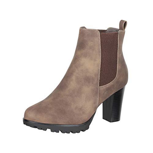 Elara Damen Stiefeletten Chelsea Boots Braun Chunkyrayan KL0160 Brown-39