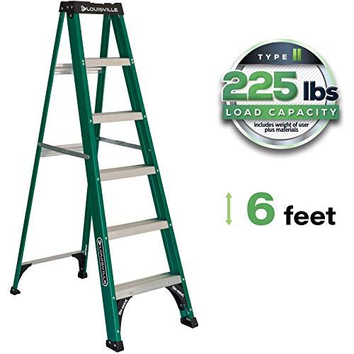 Louisville Ladder FS4006 Fiberglass Standard Step Ladder, 6 Feet, Green