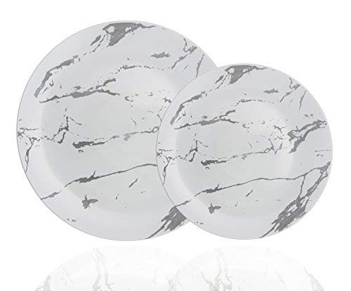 Trendables 60 Pack Disposable Dinnerware Combo - Marble Design Plastic Plates Set Includes: 30 10.25 in. Large Dinner Plates & 30 8 Salad/Dessert Plates - Premium Marble Like For Parties Weddings