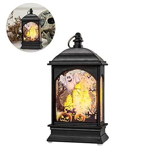 Ysoom Hängendes Windlicht, Halloween Dekoration Laterne, Flamme Button Lampe, Batterie betrieben Reter LED Lampe Hängende Laterne Flamme Licht