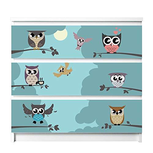 banjado Möbelfolie passend für IKEA Malm Kommode 3 Schubladen | Möbel-Sticker selbstklebend | Aufkleber Tattoo perfekt für Wohnzimmer und Kinderzimmer | Klebefolie Motiv Acht Eulen