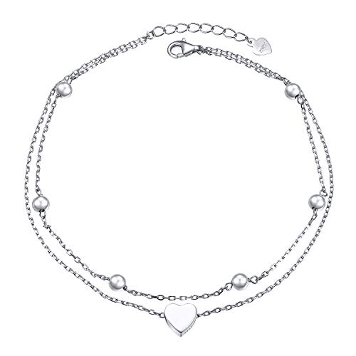 Anklet for Women Girls S925 Sterling Silver Adjustable Foot Beaded Heart Charm Ankle Bracelet Anklets, 9 10 Inches (Layered Heart 9+1')