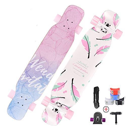 Hignful Longboards Kinder Skateboard 42 Zoll Streetsurfing Fancy Retro Komplettboard Cruiser Anfänger Skateboards,Mädchen Jungen Erwachsene Profis Penny Boar, Buntem LED-Lichtrad 70 * 51Mm,B