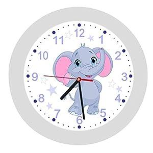 ✿ Kinderwanduhr in 4 Farben ✿ Elefant 2 blau elephant animals ✿ Wanduhr ✿ Kinderuhr ✿ KEIN TICKEN ✿ mit/ohne Name