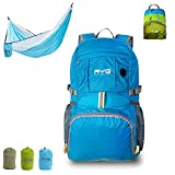 RYG Lightweight Packable Daypack Backpack with Portable Hammock Set for Camping Travel and Outdoor Hiking Day Trips (Blue)