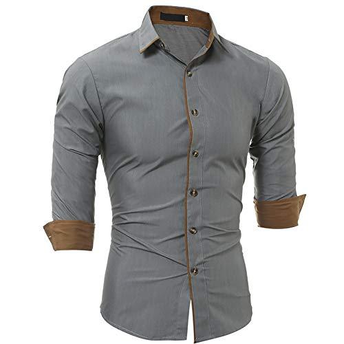 Camisa de Manga Larga con Solapa con Muesca para Hombre Costura de Color a Juego Camisa con Botones básica clásica de Corte Ajustado para Todos los Partidos L